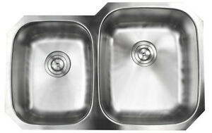 "32"" Undermount Double Bowl 40/60 Stainless Steel 16 Gauge Kitchen Sink"