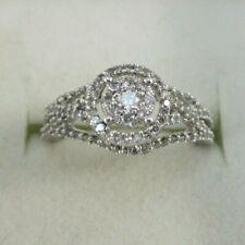 BEAUTIFUL LADIES 10K WHITE GOLD DIAMOND CLUSTER RING 4.4G