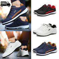 US 7-12 Men's Faux Leather Casual Walking Shoes Breath Comfy Tennis GYM Sneakers