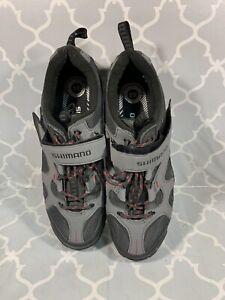 SHIMANO SH-MT43G Mt. Bike Shoes - Grey/Red Size US 9.7 EUR 44