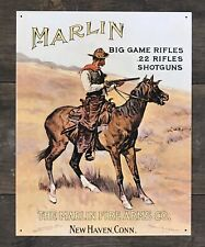 The MARLIN Fire Arms Company, Big Game Rifles Vintage Tin Metal Sign