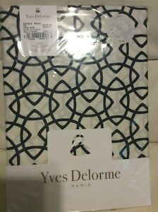 Yves Delorme Entrela Boudoir Sham 14x17 NWT! Cotton Sateen Marine Blue