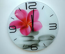 Wall clock tempered glass. Round pink flower white pebbles stones beach. 35cm.