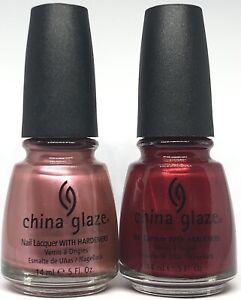 China Glaze Nail Polish Pink Champagne 252 + Visions Of Grandeur 254 Rose & Red