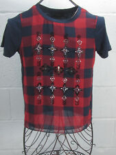J Crew Navy Blue Red Checkered Sequin Beaded Shirt Top 100% Cotton XS