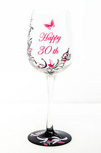 Hand Painted Pink Butterfly Wine Glass 30th Birthday Gift for Girls