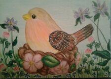 WENDY SCOPA.ORIGINAL COLORED PENCIL ACEO.SIGNED.Spring,Bird,Nest,Flowers,Clover