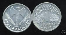 FRANCE  FRANCIA  1 FRANC BAZOR  1943 SUP +  ( bis )
