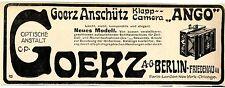 "C. P. Goerz A.- G. Berlin- Friedenau Klapp- Camera "" Ango""  Histor. Annonce 1907"