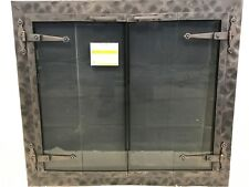 """Stoll Glass Fireplace Door Heavy Forged Iron Burnished Bronze 32 1/4"""" x 28 3/4"""""""