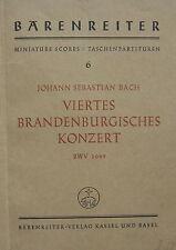J. S. Bach: Viertes Brandenburgisches Konzert, Taschenpartitur, gebr.