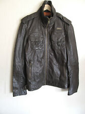 Superdry Ryan Jacket Leather Matte Army Vintage Medium MS5IY028F2 NWT/$475