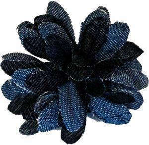 Mia Flower Clip, Denim Hair Accessory, Hair Barrette, Blue Trim 1pc