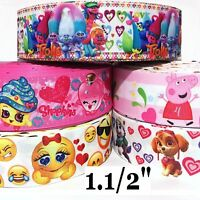 "1.5"" Grosgrain Ribbon 5 Yard mixed lot L1 EMOJI PAW PATROL SHOPKINS TROLLS"