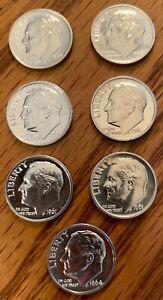 7 - GEM PROOF ROOSEVELT DIMES - 2-1959, 4-1911 & 1-1964
