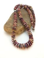 """Rare Native American Purple Spiny Turquoise Sterling Silver Necklace 32"""" 8886"""