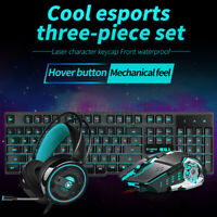3 in1 Gaming Combo Rainbow LED Backlit Wired Keyboard Mouse w/ Headset Set US