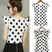 Fashion Women's Casual Chiffon Polka Dot Blouse Short Sleeve T-shirt Summer Top