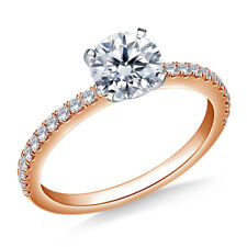 Real 14K Rose Gold Rings Solitaire Diamond Engagement Ring 0.74 Ct Size I J K