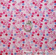 BonEful Fabric FQ Cotton Quilt Pink Purple GIRL PEACE Hippie Sm Polka DOT Calico