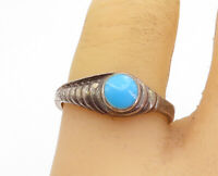 925 Sterling Silver - Vintage Turquoise Graduated Detail Band Ring Sz 8 - R18372
