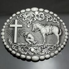Retro Silver Western Cowboy Prayer Cross Horse Oval Concho Scroll Belt Buckle