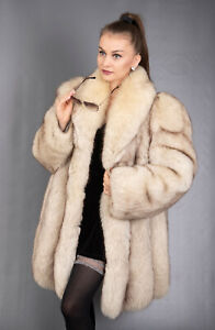 9585 GLAMOROUS REAL BLUE SAGA FOX COAT LUXURY FUR JACKET BEAUTIFUL LOOK SIZE XL