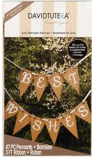 David Tutera Jute Pennant Wedding Banner Kit with Ribbon 47 pieces   B105