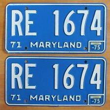 Maryland 1975 License Plate PAIR # RE 1674