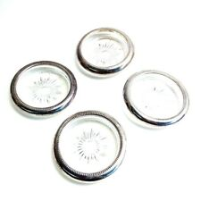 4 Pieces Vintage Silver Plated & Glass COASTERS From Italy Vintage Barware
