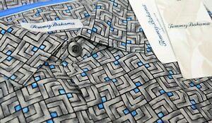 NEW $140 Tommy Bahama Short Sleeve Geometric 100% Silk Shirt Marine Mosaic Gray
