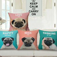 "18"" Cotton Linen Waist Cushion Pillow Case Cover Home Car Sofa Bed Decor Pug Dog"