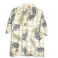 Paradise Blue Hawaiian Shirt Men M Tan Palms Floral Silk #M-397