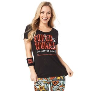 Zumba - Super Woman Hi Lo Hem Tee - BLACK - sz Medium & XXL ~ New!