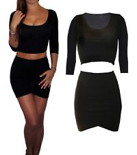 Womens Ladies Co Ord 2 Piece Set Jersey UK Black Dress Skirt Crop Top Size 12 M