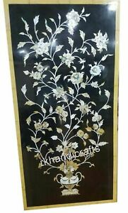 30 x 60 Inches Black Marble Dining Table Top with Exclusive Design Wall Scenery