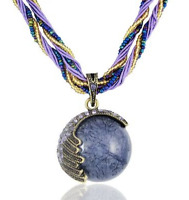 Handmade Bead and String Purple Circle Bohemian Bronze Pendant Necklace N80