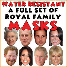 8 Royal Family Celebrity Face Masks -Wedding Party + 2 x FREE HAND WAVE FLAGS