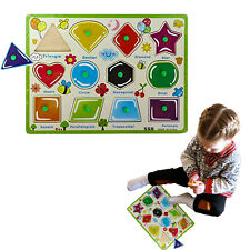 Dazzling Toys Wooden Peg Puzzle Toddler's Shapes Jigsaw Educational Puzzle