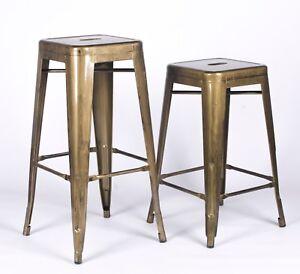 TOLIX INSPIRED METAL BAR STOOL BRASS STYLE GOLD INDUSTRIAL BREAKFAST CAFE GARDEN