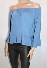 COTTON ON Brand Denim Blue Off Shoulder Blouse Top Size M BNWT #Ti73