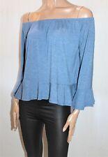 COTTON ON Brand Denim Blue Off Shoulder Blouse Top Size M BNWT #Ti73