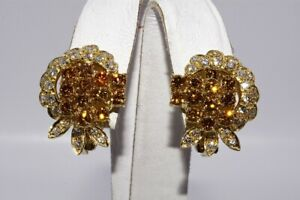 $6,500 2.20CT NATURAL FANCY COLOR & WHITE DIAMOND CLUSTER EARRINGS 18K GOLD