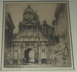 Honor Gate Cambridge University Etching, Edward Sharland Listed UK Artist