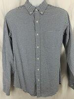 Men's J Crew Flex Blue White Plaid Shirt Button Down Shirt Size Medium