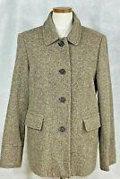 Banana Republic Womens Brown/White Tweed Wool Blend w/Nylon Coat XL