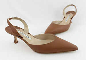 Manolo Blahnik Brown Leather Carolyne Slingback Low Heel Shoe Size 40 10