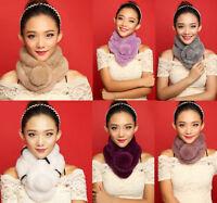New Womens Winter Real Rabbit Fur Collar Scarf Neck Warm Fluffy Wrap Shawl Stole