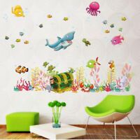 Removable Waterproof Wall Sticker Sea Fish Shark Mural Children living bed room