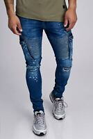 Jeans Uomo Cargo Biker Jeans Blu Destroyed Denim Slim Fit John Kayna